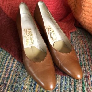 Vintage Ferragamo Pumps- Cognac Leather